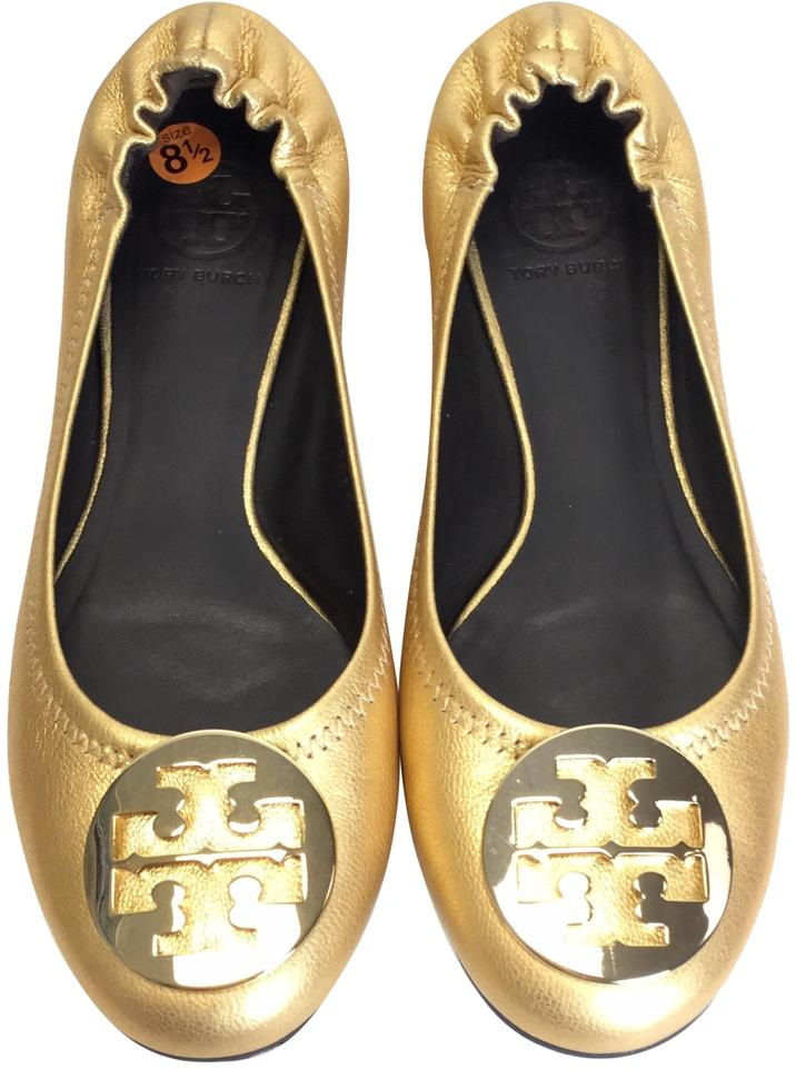 66e8a9b8bb40 Tory Burch Leather Ballet Hardware Gold Flats ...