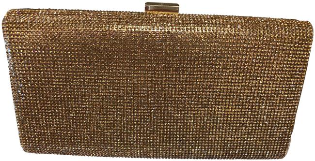 Item - Evening Gold and Rhinestone Metal Fabric Clutch