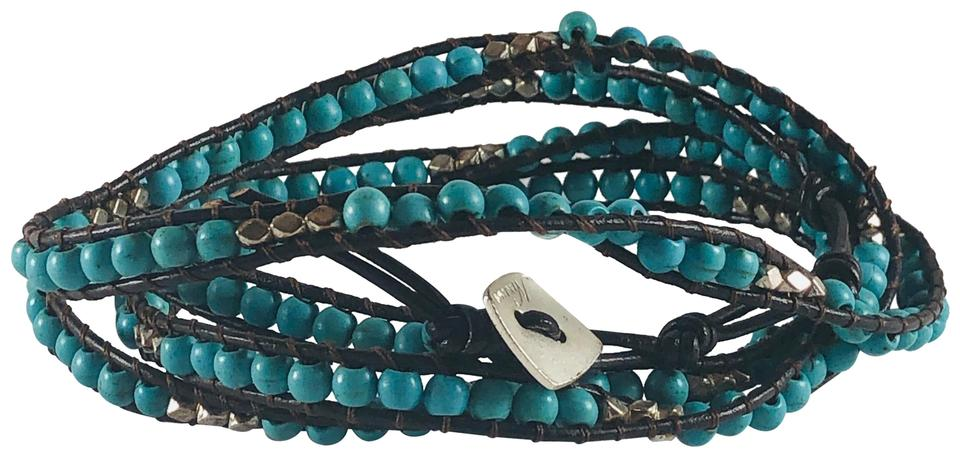 Nakamol Blue Silver And Brown Wrap Bracelet