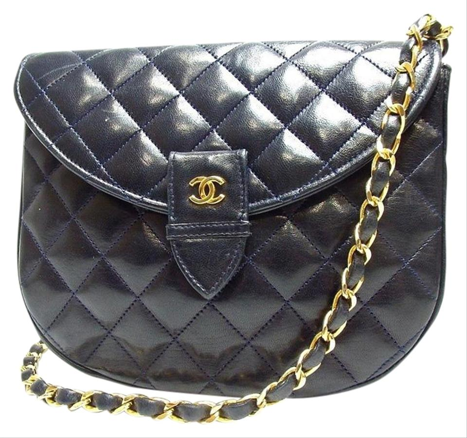 8dbb6b0d3fabd6 Chanel Classic Flap Vintage Quilted Navy Blue Lambskin Leather Cross ...