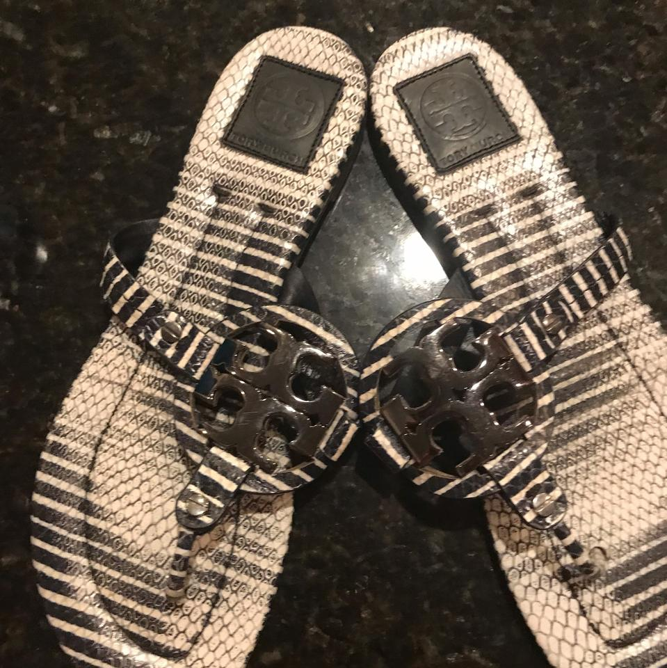 8bfda2c4797d Tori Burch Size 10 Sandler Baby Blue White Striped Navy Blue and White  Sandals. 123456