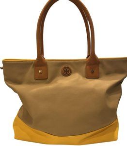 Tory Burch Faux Leather Block Color Satchel in beige with yellow