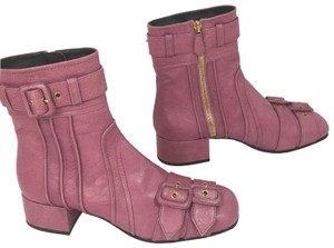 Prada Buckled Distressed Goat Leather pink Boots