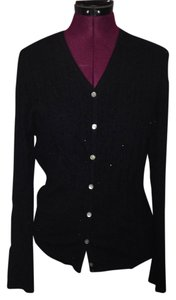 Saks Fifth Avenue Cashmere Ultra Soft Chic Classic Career Warm Beads Button Down Shirt Black