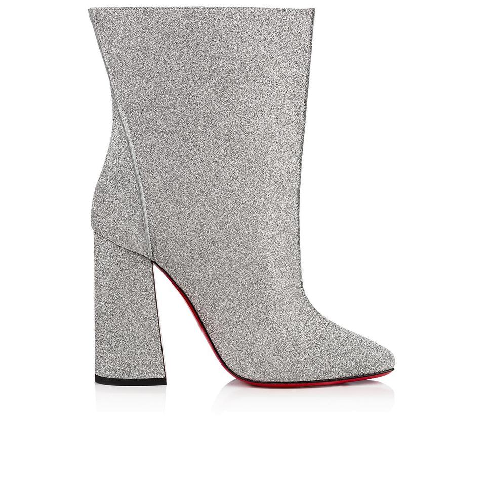 406c7e66be3 Christian Louboutin Silver Hilconissima 100 Glitter Mid Calf Block Heel  Ankle Stiletto Boots/Booties Size EU 38 (Approx. US 8) Regular (M, B)