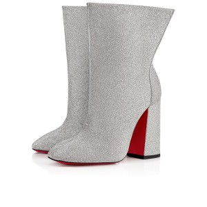 Christian Louboutin Moulamax Floral Stiletto Ankle silver Boots