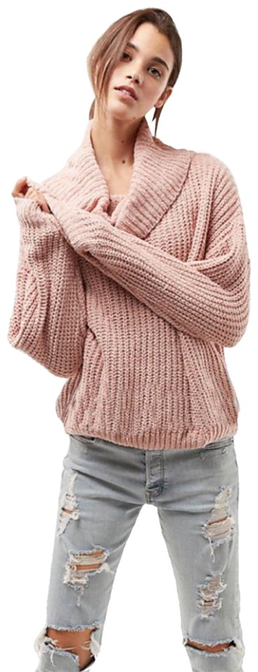 3e1f1bdd473 Express Chunky Slouch Chenille Cowl Neck Tan Light Peach Sweater ...