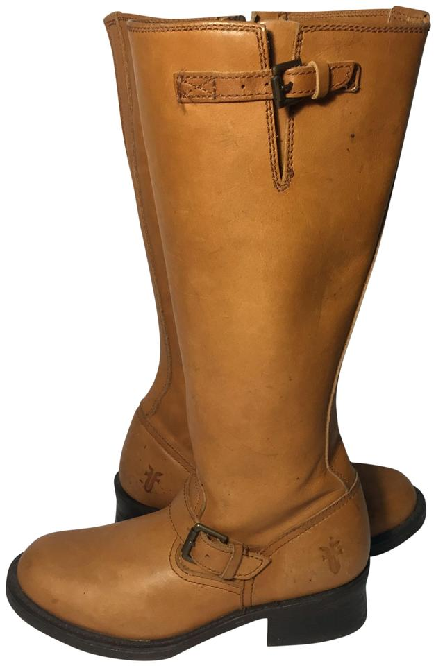 Frye Brown 77555 Tall Engineer Whisky Leather Motorcycle Women Boots