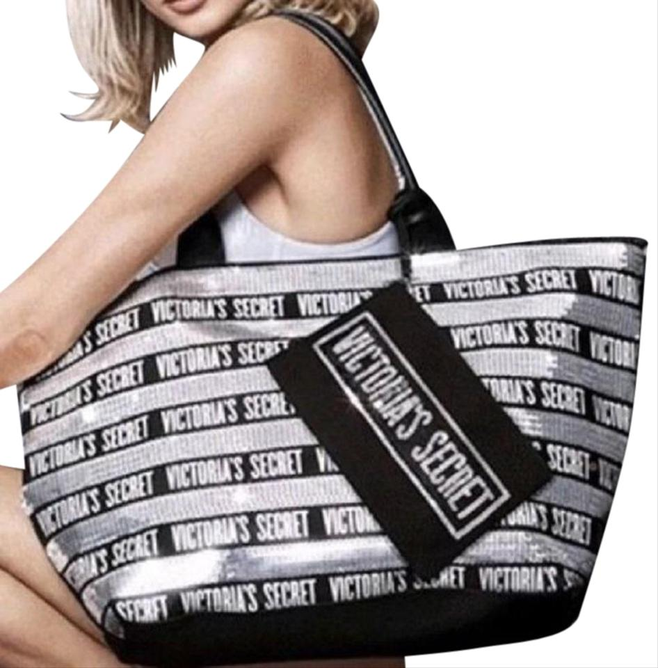 2ab02ed90b Victoria s Secret Vs Sequins Bling Friday Tote in Silver Black Image 0 ...