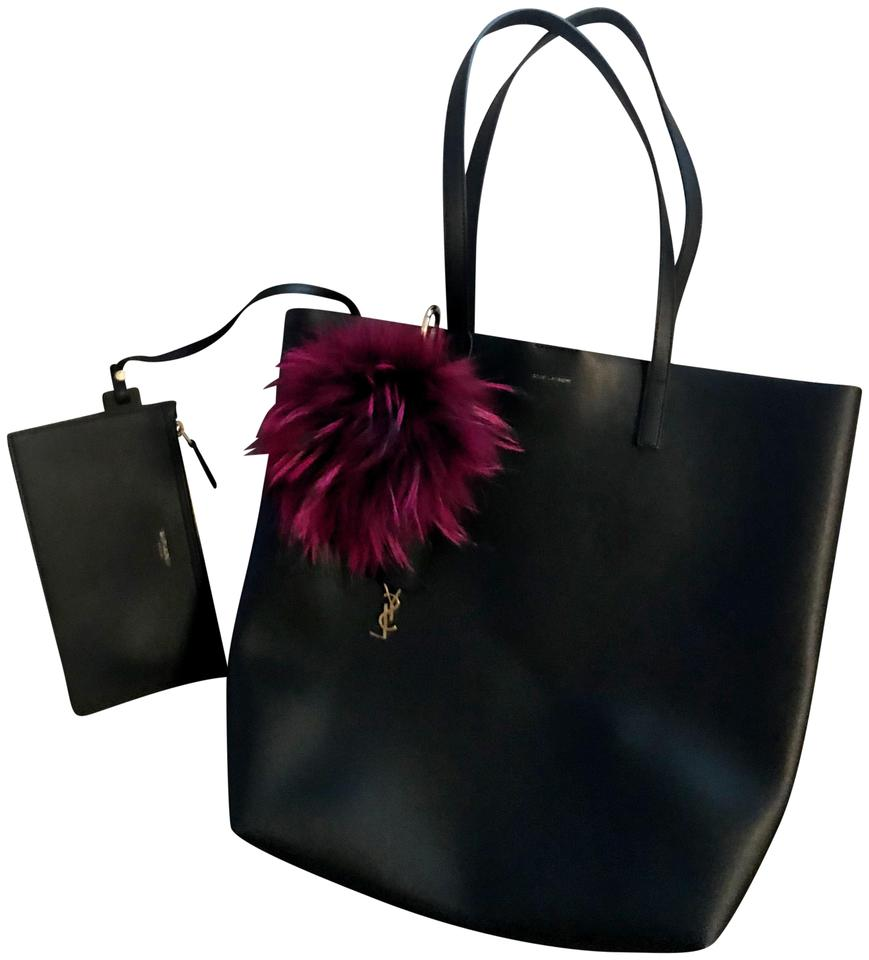 56130a7dc2 Saint Laurent Monogram Shopping Medium Ysl Shopper with Matching Pouch Black  Calfskin Leather Tote
