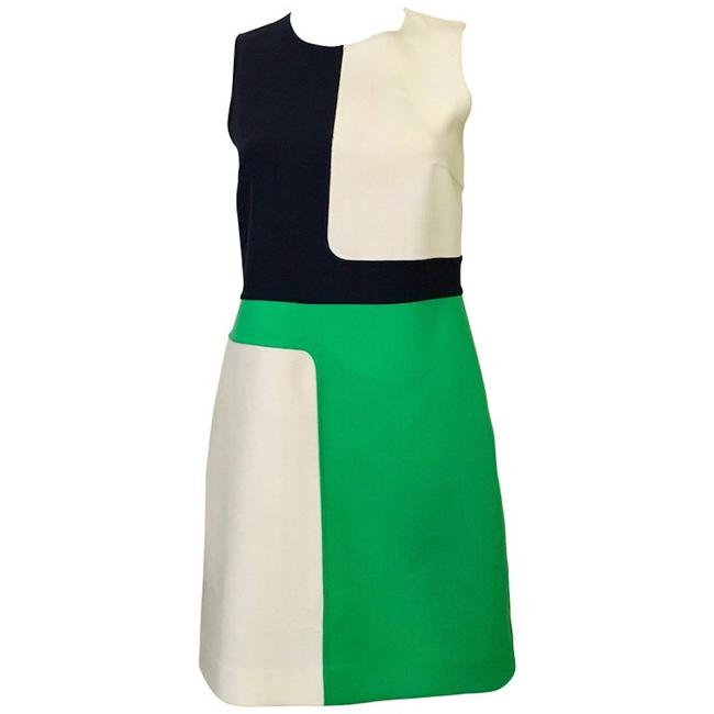 Item - Green New Color Block Short Cocktail Dress Size 4 (S)