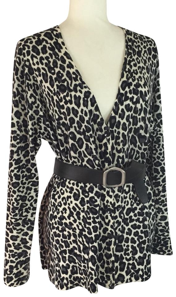 28f47c3bc0b Sejour Black Gray   White Leopard Animal Print Sweater Cardigan Size ...
