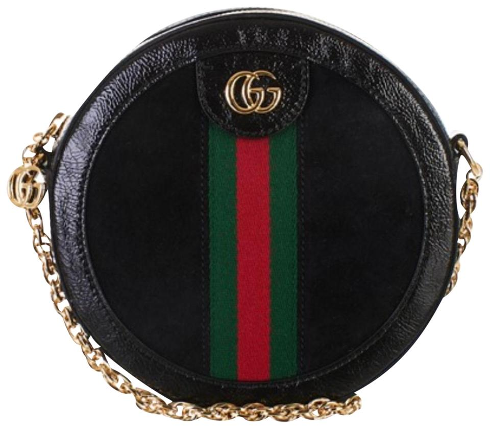 fffaa6ddc68caa Gucci Shoulder Ophidia Mini Round Black Suede Leather Cross Body Bag ...