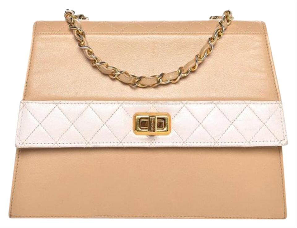 8318524604007e Chanel Classic Flap Quilted Beige White Lambskin Leather Shoulder ...