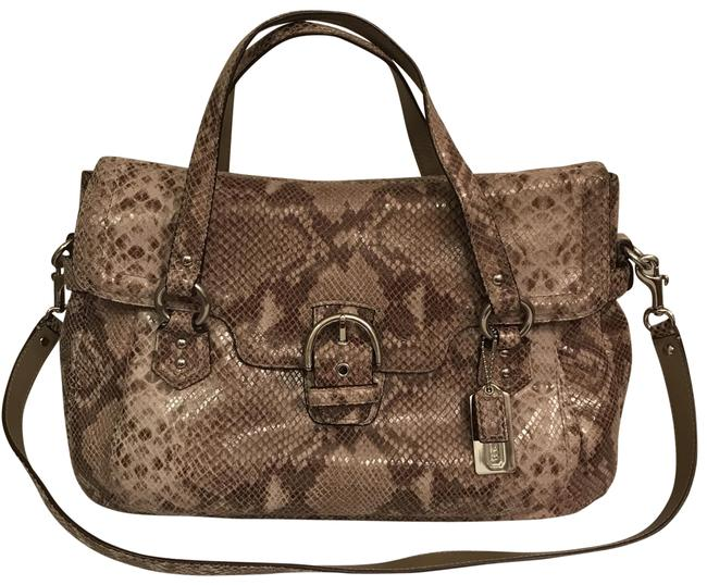 Item - Campbell Lg Eva Exotic Python Snakeskin F27501 Beige Brown Taupe Gray Multi Leather Satchel