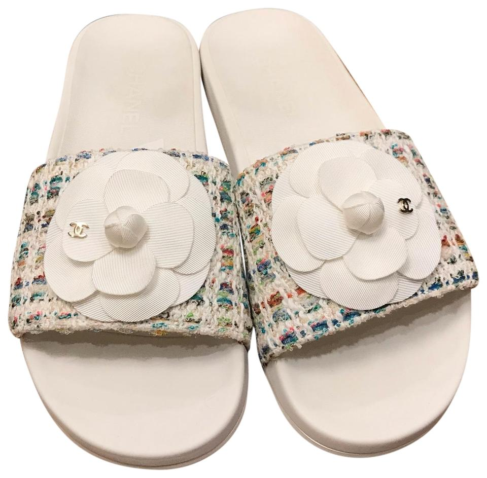 b0ff80173c57 Chanel white multi colors tweed flower grosgrain camellia flat sandals  mulesslides size eu approx jpg 960x943