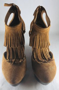 Elaine Turner Fringe Hem Brown Wedges