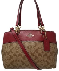 Coach Canvas Signature Leather Crossbody Carryall Satchel in Cherry Red/Khaki