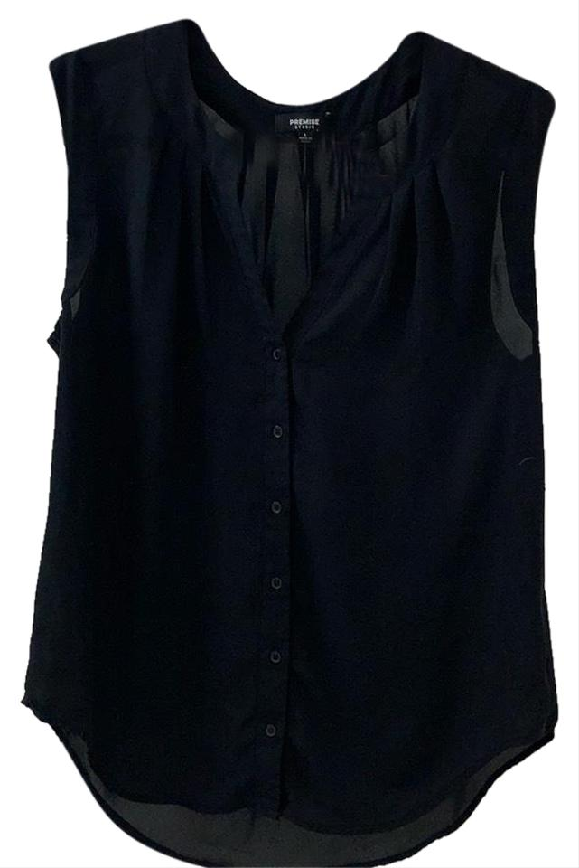 c0584b0b5f219 Premise Black Button Down Sleeveless Tank Top Cami Size 12 (L) - Tradesy
