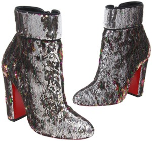 78bc3be9eed1 Christian Louboutin Unicorn Skin Moulamax 100 Silver Sequined Leather Ankle  Round Boots Booties