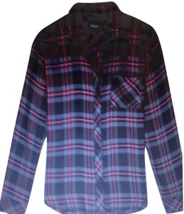 Rails Button Down Shirt Black/Grey/Rose