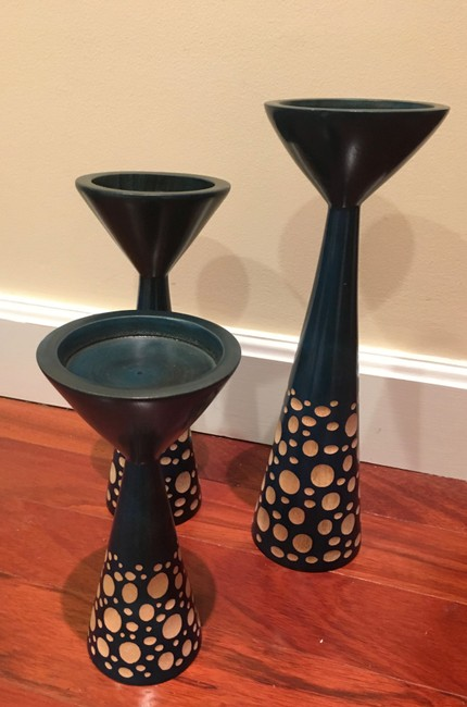 Item - Cerulean Blue Three Carved Mango Wood Candle Holders From Thailand Other