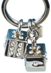 Coach Coach Silver Lucky Dice Pave Swarovski Crystal Key Ring Chain Gambling