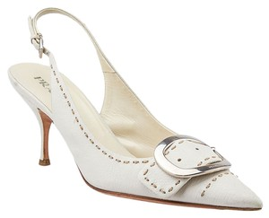 Prada Leather Slingback Pumps Ivory Mules