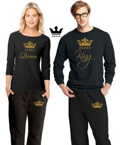 Black and Gold New For Couple Matching Pajamas His Hers Pajamas Set Other