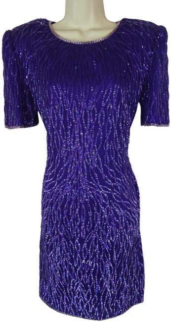 Item - Purple S Sequin Beaded Mid-length Formal Dress Size 6 (S)
