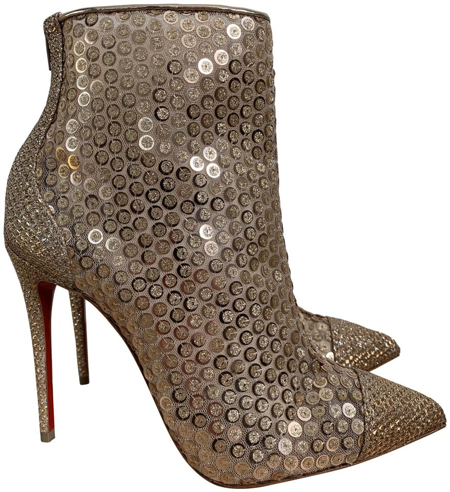 aa32833f282 Christian Louboutin Pointed Toe Sequin Zip Metallic Nude Rose Gold Boots  Image 0 ...