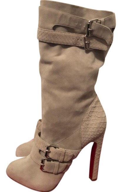 Item - Grey Loubi Rider Buckled Suede Python Platform Boots/Booties Size EU 37.5 (Approx. US 7.5) Narrow (Aa, N)