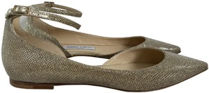 Jimmy Choo Ankle Strap Pointed Glitter Gold Flats