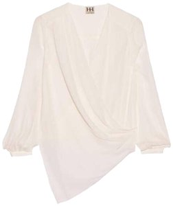 ddbf90107941fb Haute Hippie Silk Longsleeve V-neck Wrap Draped Top cream