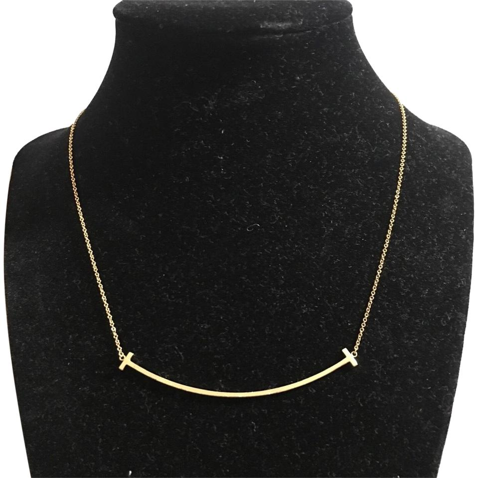 45bb42642 Tiffany & Co. 18k Tiffany and Co T Smile Necklace Image 0 ...