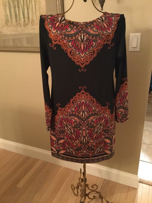 Inc International Concepts Black With Orange And Red Classic Print Mid Length Short Casual Dress Size 10 M