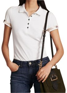 Burberry Women Polo Check Trim T Shirt white