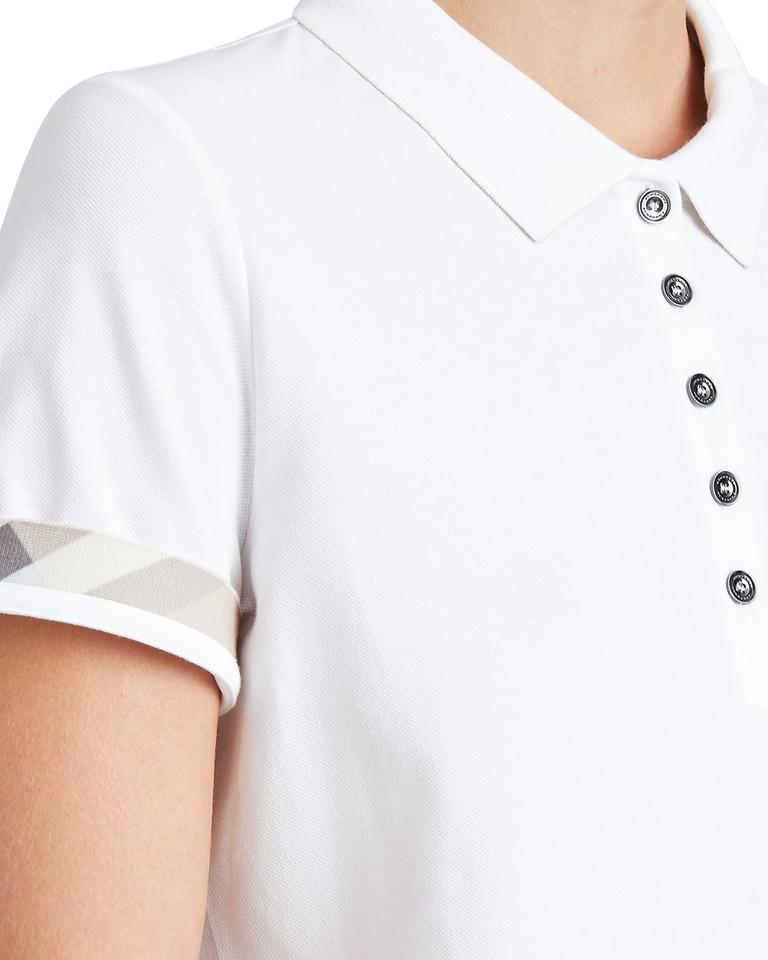 a716f513 Burberry White New Slim-fit Polo with Check Trim Small Tee Shirt ...