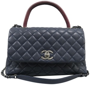 Chanel Medium Coco Lizard Trimmed Handle Satchel In Navy