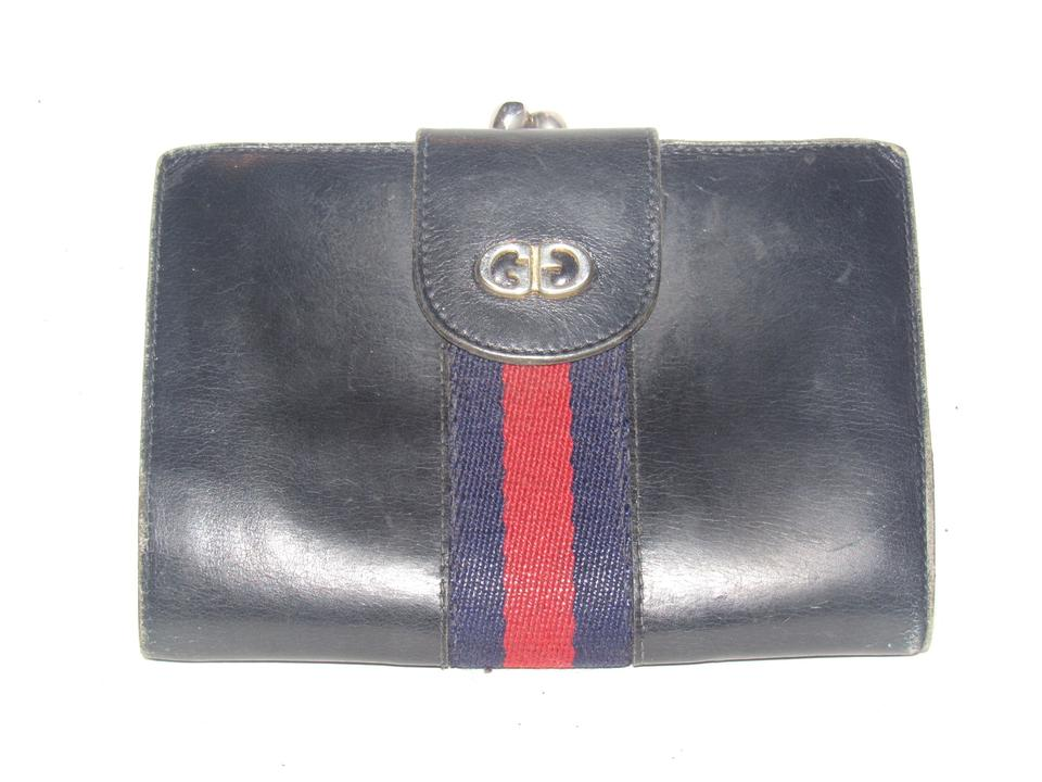 9e72df913cba Gucci Navy Blue Leather with A Red and Navy Center Stripeaa Vintage Sherry  Wallet/Designer Wallet