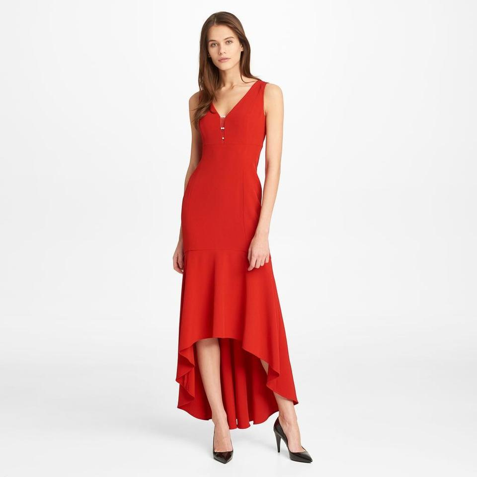 Karl Lagerfeld Red Waterfall with Dip Front Long Formal Dress Size 16 (XL,  Plus 0x) 12% off retail