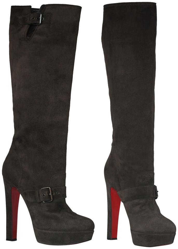 0b5f9aa6c80 Christian Louboutin Brown Harletty 40it Platform Knee High Heel Lady Pull  On Red Sole Toe Suede Boots/Booties Size EU 40 (Approx. US 10) Regular (M,  ...