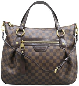 Louis Vuitton Lv Evora Damier Ebene Canvas Satchel in brown
