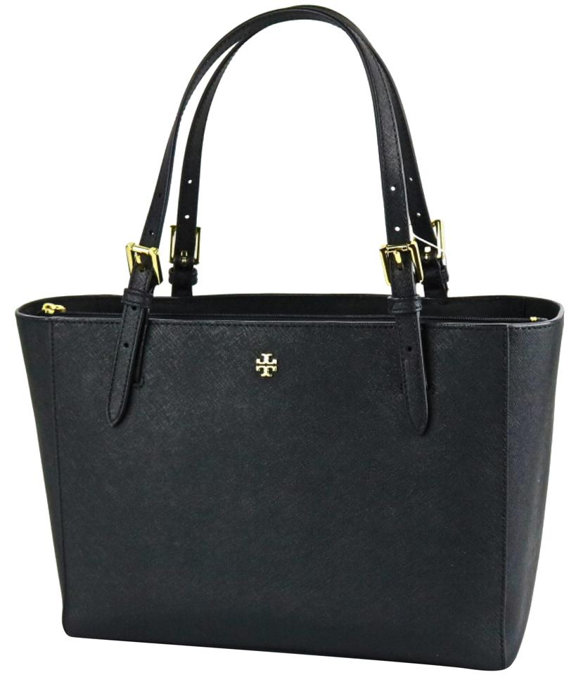 b1bbfb7594b0 Tory Burch Small Buckle Black Saffiano Leather Tote - Tradesy