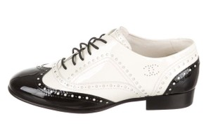 Chanel Brogue Wingtip Patent Leather Black white Flats