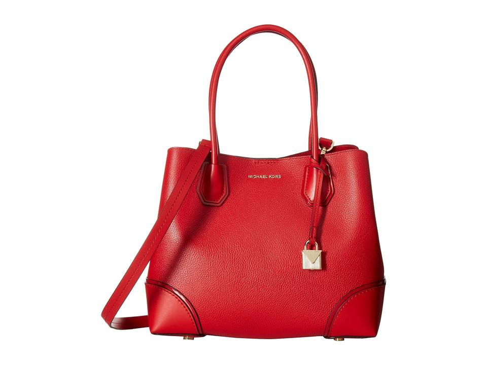 Michael Kors Mercer Corner Studio Medium Center Zip Red Leather Tote ... e4445c1a2b4d3