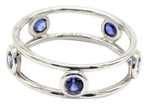 dc5cb134b707 Tiffany   Co. Platinum Double Wire Sapphire Ring Size  4.25