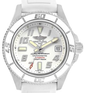 Breitling Breitling Superocean 42 White Dial Rubber Strap Watch A17364 Box Paper