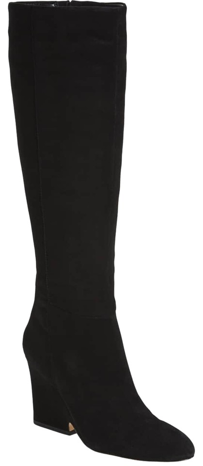 b896bd2e4c5 Sam Edelman Black Whitney Suede Wedge Tall Boots Booties Size US 8 ...