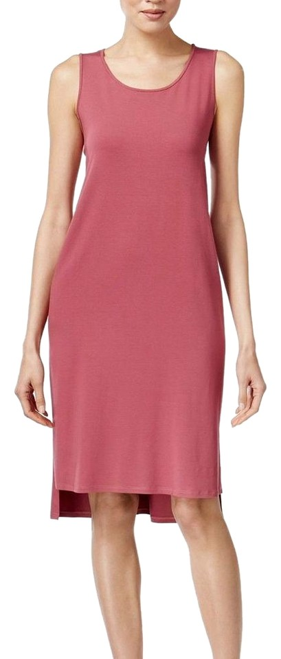 15682c681c2e Eileen Fisher Rosewood Red Viscose Jersey Sleeveless Tank Hi-low Casual  Dress